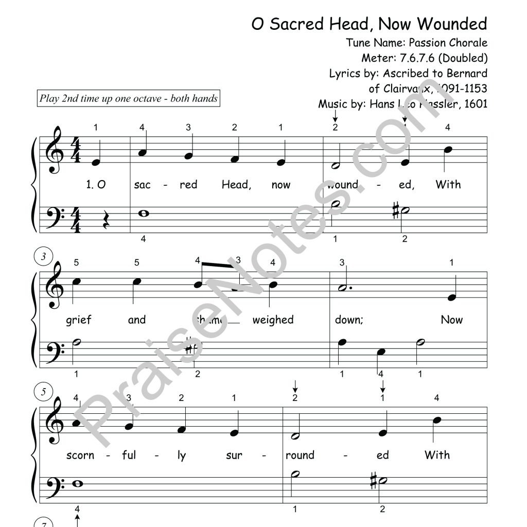 O Sacred Head Now Wounded Beginner Easter Praisenotes